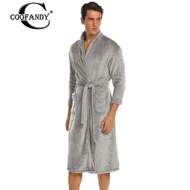 Belted Bathrobe Winter Warm 3 4 Sleeve Men Fleece Kimono Robes with Pockets 1f42bb352