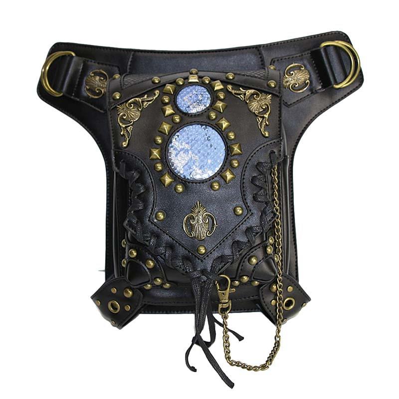 Hombres/mujeres remache gótico negro pu cuero Steampunk Utility hombro retro punk muslo holster cintura Bolsas corsés Accesorios