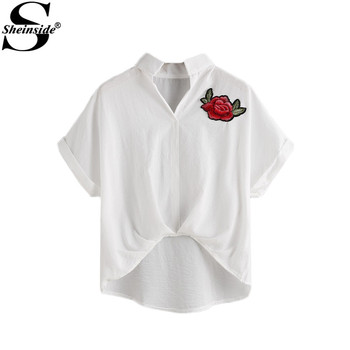 Sheinside Beige Appliques Shirt 2017 Women Brief Embroidery Casual Blouse Dip Hem Summer Tops New Short Sleeve High Low Blouse
