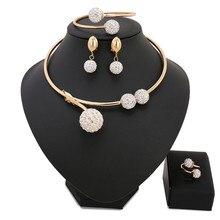 Africano al por mayor Cuentas joyería conjunto moda de la boda de las mujeres Dubai joyería conjuntos oro puro pulsera del collar Pendientes conjunto