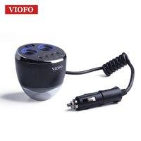 VIOFO Smart Autolader Dual Sigarettenaansteker met Veiligheid Hamer 4 USB Bekerhouder LED Display vier usb-poort