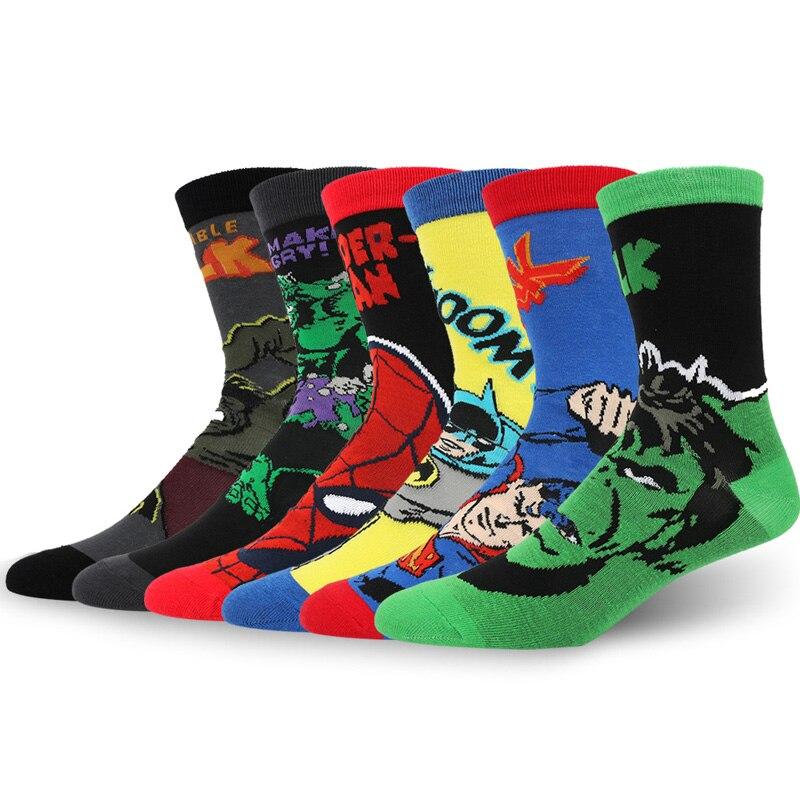 f88cf5a058c Marvel Comics Hero Knee High Sock Iron Man Captain America Hulk Batman  Superman Spiderman Cartoon Pattern Casual Socks