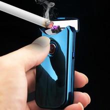New Double Arc Lighter Electronic USB Cigarette Lighter Plasma Rechargeable Flameless Windproof Smoking Lighter Gadgets for Men цена