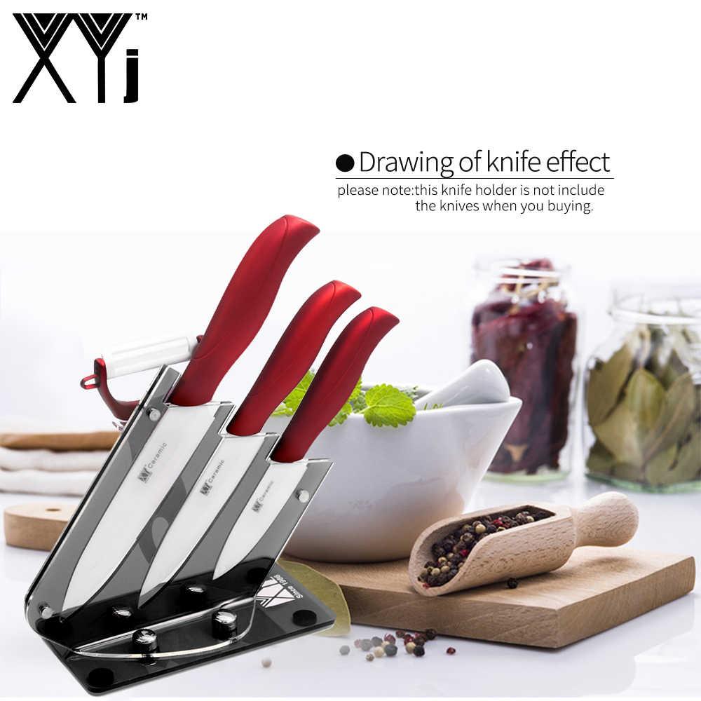 XYj سكين مطبخ سيراميك حامل دائم الاكريليك المطبخ سكين الوقوف موضة أدوات المطبخ المهنية 4 قطعة/5 قطعة مجموعة السكاكين كتلة