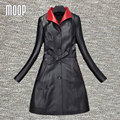 Black/red genuine leather coats women 100% Lambskin windbreaker slim X-Long trench coat abrigos mujer casaco feminino LT181
