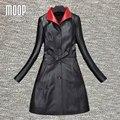 Negro/rojo abrigos de cuero genuino de las mujeres 100% de piel de Cordero cazadora foso Largo prendas de abrigo abrigos mujer casaco feminino LT181