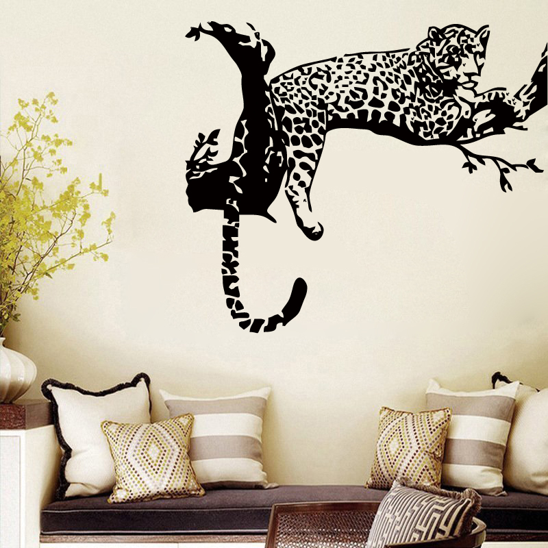 Wall Stickers Living Room Blue And White Accessories Animal Wild Zoo Leopards Cheetahs Tail Decal Sticker Vinyl For Kids Home Decor Qt004 In From Garden