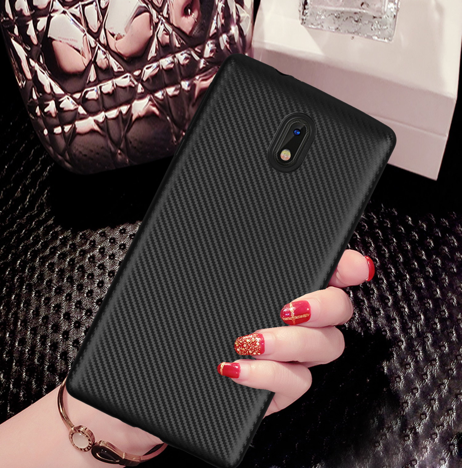 HATOLY For <font><b>Fundas</b></font> <font><b>Nokia</b></font> 3 Case for <font><b>nokia</b></font> <font><b>lumia</b></font> 3 Ultra Ultra-thin Soft TPU Carbon Fiber Back Cover for <font><b>Nokia</b></font> 3 TA-<font><b>1020</b></font> TA-1032 image