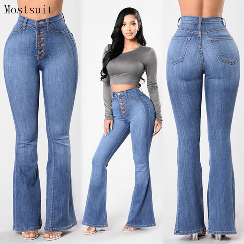 2018 Blue Flare Skinny Jeans Woman High Waist Buttons Denim Pants Trousers Full Length Butt Lifting Casual Jeans Plus Size Femme