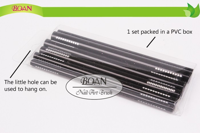 Retail 10 Set/ lot Free Shipping Factory New Design Metal Nail Shapper Tool 6 Pcs Set Different Sizes Nail Shape Rod Stick