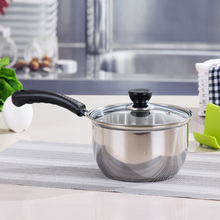 Stainless Steel Milk Pan Cooking Pot Noodles Pan Baby Care Food Supplement Small Soup Pot With A Single Handle(China)