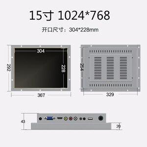 Image 2 - 15 дюймовый промышленный металлический чехол с открытой рамкой, ПК, СВЕТОДИОДНЫЙ монитор с VGA HDMI DVI BNC AV TV