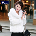 NEW 2016 Autumn and Winter New Women's Knit Cardigan Cape Coat Imitation Fox Fur Shawl Solid Color Fashion Warm Cape