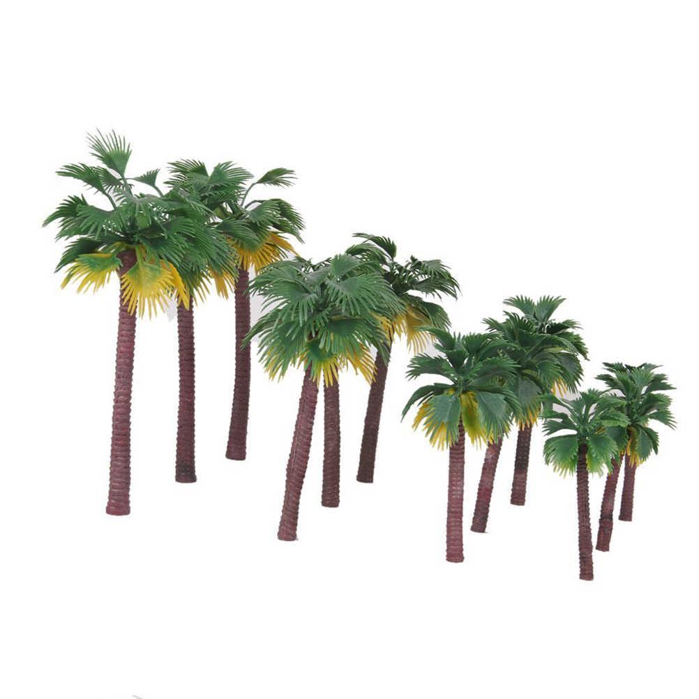 12pcs Layout Rainforest Plastic Palm Tree Model Tropical Dwarf Trees Building