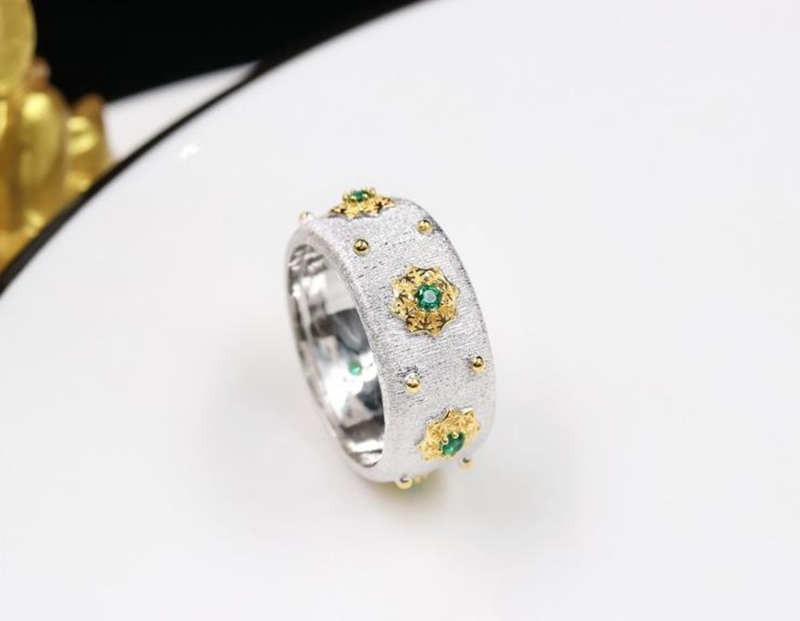 Image 4 - CMajor S925 Sterling Silver Jewelry Two Tone 5A Green Cubic Zircon Stone Star Rings For Women-in Engagement Rings from Jewelry & Accessories