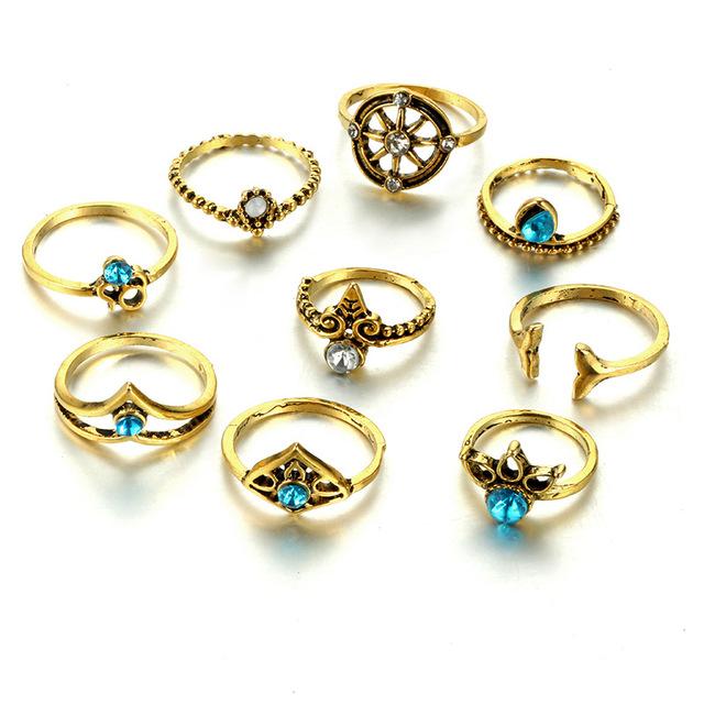 9Pcs Antique Gold/Silver Carved Knuckle Ring Set