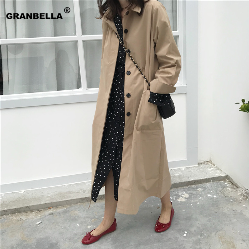 New spring autumn women's casual long   trench   coat solid black and khaki color windbreaker for women Korean cloak femme clothes