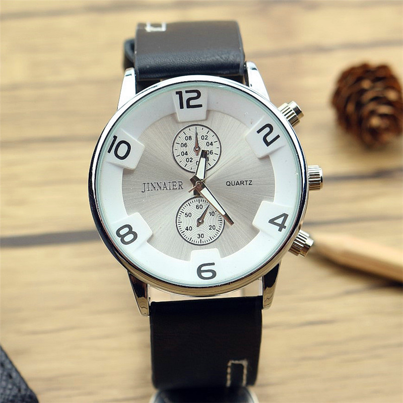 Promotion Luxury Brand Hotime 2017 New Arrived Men Causal Three-dimensional Scale Quartz Watch Business  Leather Clock Gift