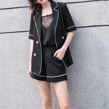 Trabajo de oficina damas Casual conjuntos de ropa de verano de primavera  negro muescas manga corta elegante chaqueta y pantalone. bc2b7763fa5