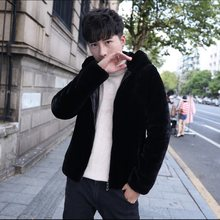 mink fur coat men 2019 Winter Rex Rabbit Hooded manteau hiver Plus Size Warm Fur Outerwear Faux Fur Jacket XL749(China)