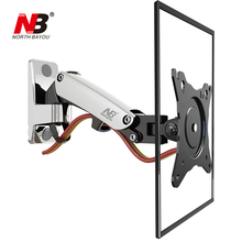 NB F120 17-27 Gas Spring Full Motion TV Wall Mount LCD Monitor Holder Aluminum Arm Bracket Silver Black