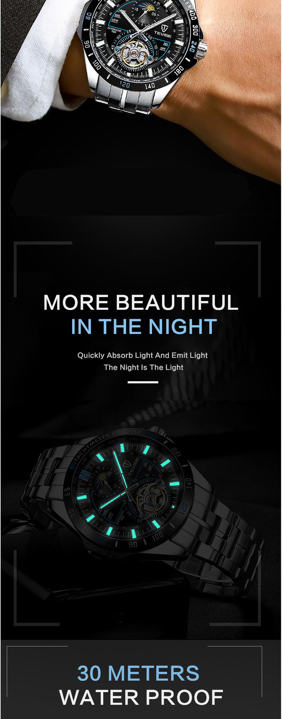 2019 tevise relógios mecânicos moda luxo relógio