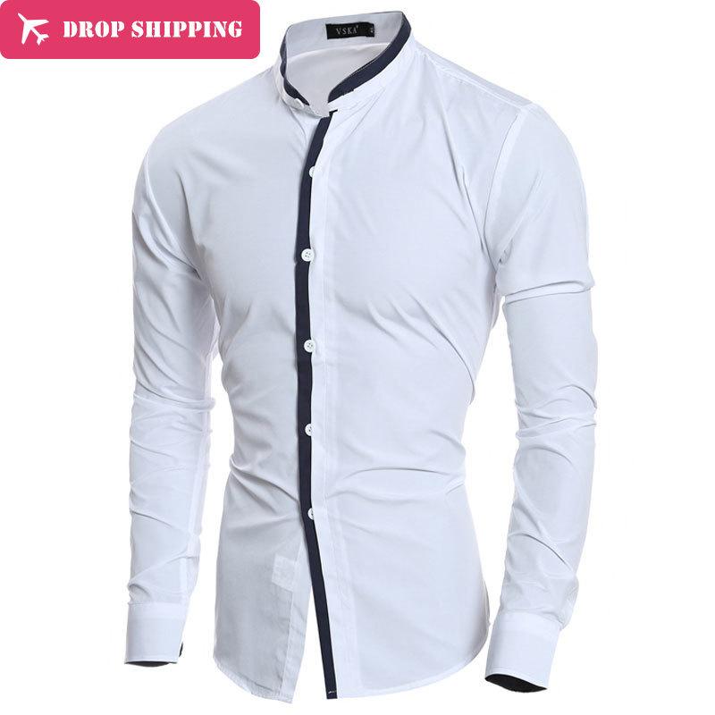 Dropshipping Camisa Masculina 2017 Moda de hombre Slim Fit Camisa - Ropa de hombre