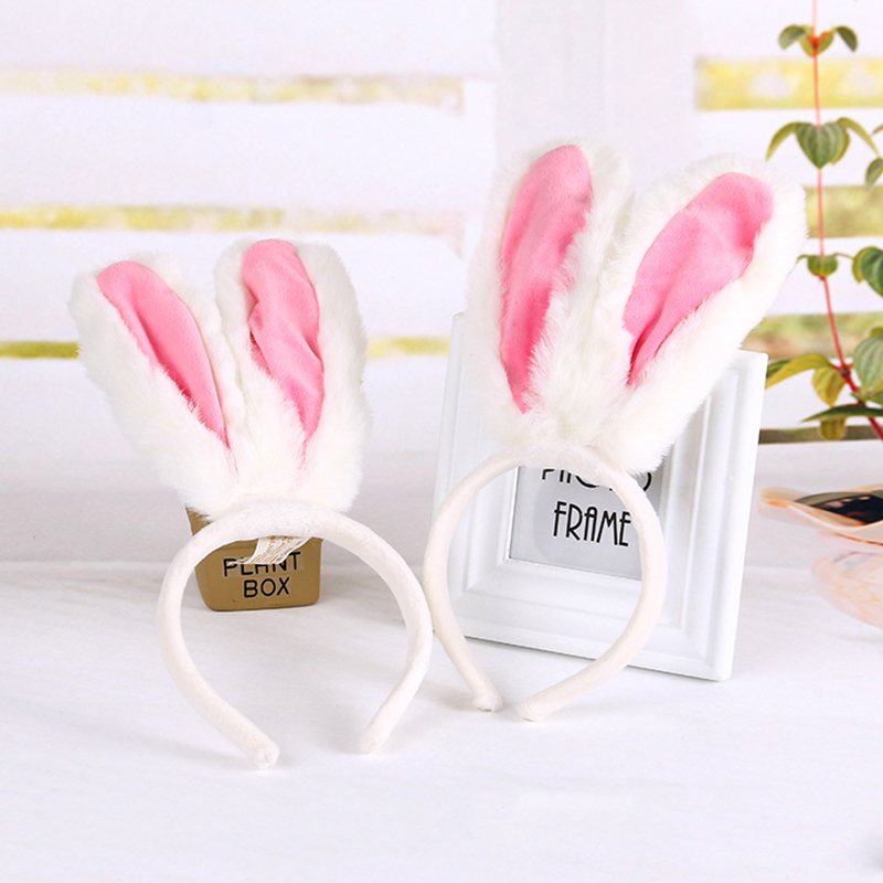 Children Girls Hairbands Cute Animal Rabbit Ears Headbands Pink White Soft Plush Headwear 2016 Holiday Party Hair Accessories 2017 new fashionable cute soft black grey pink beige solid color rabbit ears bow knot turban hat hijab caps women gifts