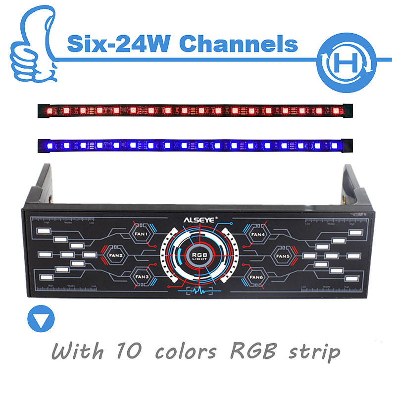 ALSEYE PC Fan Controller, 6 Channels with Dual Magnetic RGB LED Strips Case Light, Fan Speed and RGB Controller alseye rgb led fan controller rgb led case fan and rgb strips radio frequency controller with touch remote control