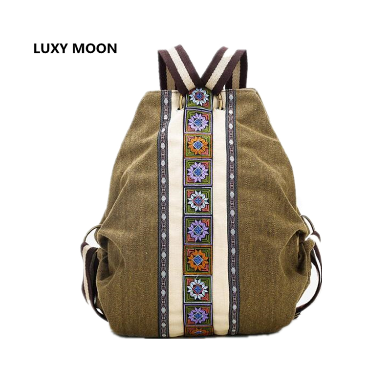 Luxy Moon sac a dos Ethnic Canvas Backpacks for Women Embroidery Patchwork Vintage Drawstring Bag Travel Boho anti theft Mochila tangimp drawstring backpacks embroidery dear my universe cherry rocket printing canvas softback man women harajuku bags 2018