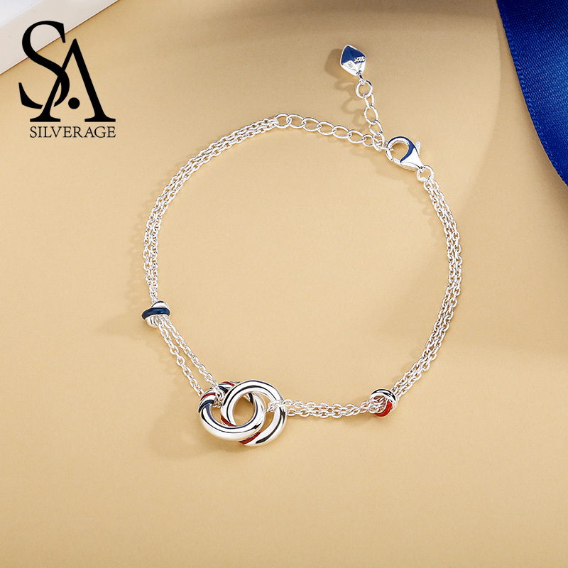 SA SILVERAGE Real 925 Sterling Silver Europa Chain Bracelet Simple Temperament Birthday Gift Bracelets For Woman