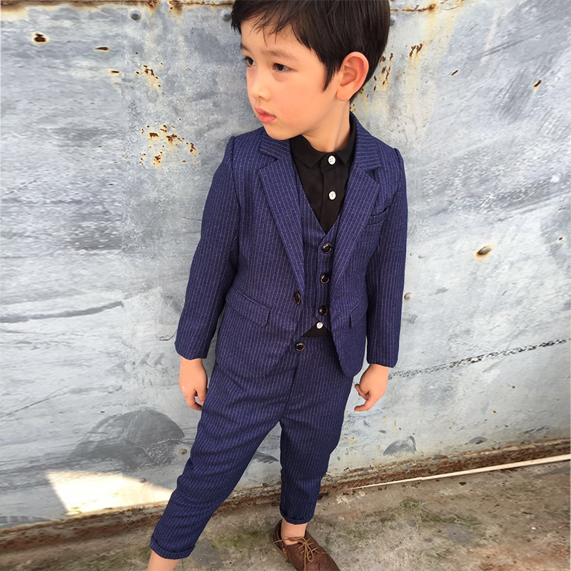 Gentle kid suit blue Striped wedding Boy dress Blazer pant vest 3 ...