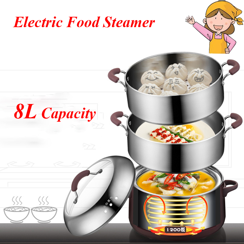 FREESHIPPING AC220 240V 1200w power 8L capacity Stainless Steel 3 Layers Electric Food Steamer/ Saucepan Time Scheduling|steel stainless|steamer electric|steel steamer - title=