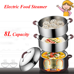 FREESHIPPING AC220-240V 1200w power 8L capacity Stainless Steel 3 Layers Electric Food Steamer/ Saucepan Time Scheduling
