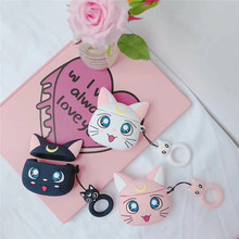 For airpods case Cartoon Luna Cat Wireless Bluetooth Headset Apple 1/2 Silicone Ring Buckle Charging Box