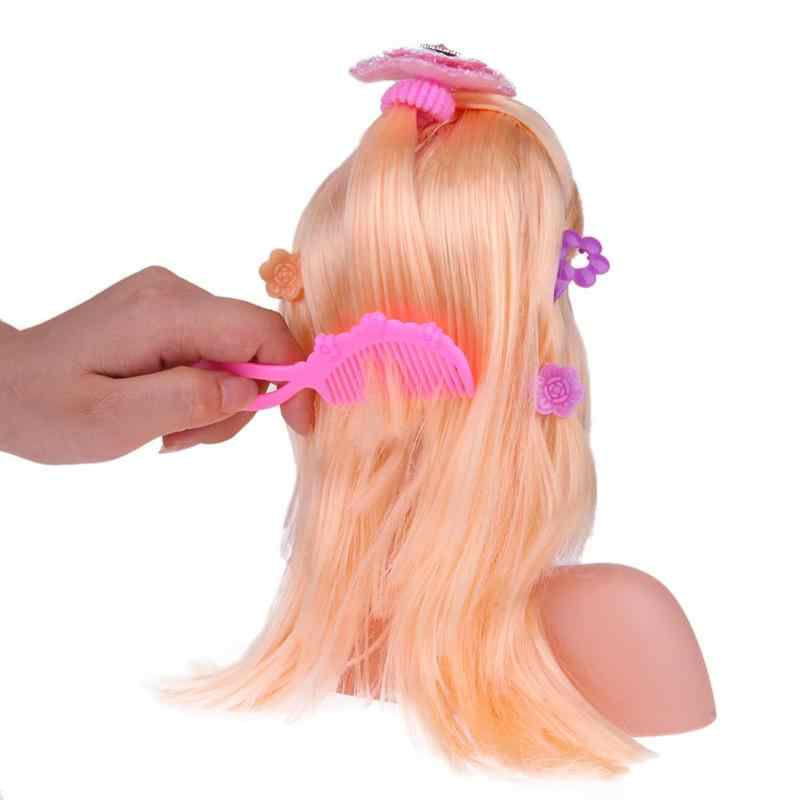 Stylish Stylist Kids Makeup Toy Half Body Makeup Hairstyle Doll Dummy Long Hair Mannequin Head Pretend Play Toys Girls Xmas Gift