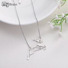 My Shape Sika Deer Animal Pattern Hollow Special Pendant Stainless Steel Necklaces