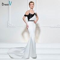 Dressv black&white long evening dress backless sweep mermaid flower sample wedding party formal dress stain evening dresses