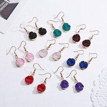 цены на Vintage Bohemian Geometric Drop Earrings Simple Round Resin Natural Stone Hook Earrings Women Bohemian Earring Jewelry Gifts  в интернет-магазинах