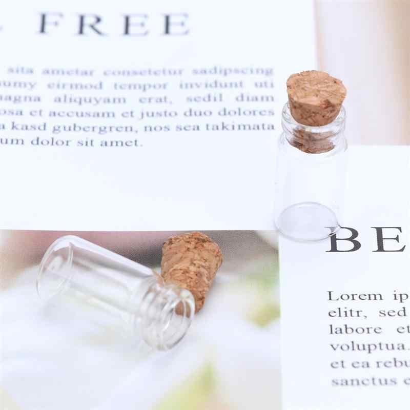 25Pcs Bening Kecil Mini Toples Kaca dengan Sumbat Gabus DIY Berharap Botol untuk Pesan Pernikahan Berharap Pesta 11X22 Mm