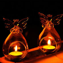 US Angel Glass-Crystal Hanging Tea Light Candle Holder Home Decor Candlestick AA