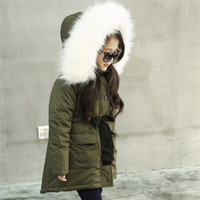 Children Winter Jackets For Girls Army Green Outerwear Faux Fur Collar Hooded Coats Thermal Warm Fleece