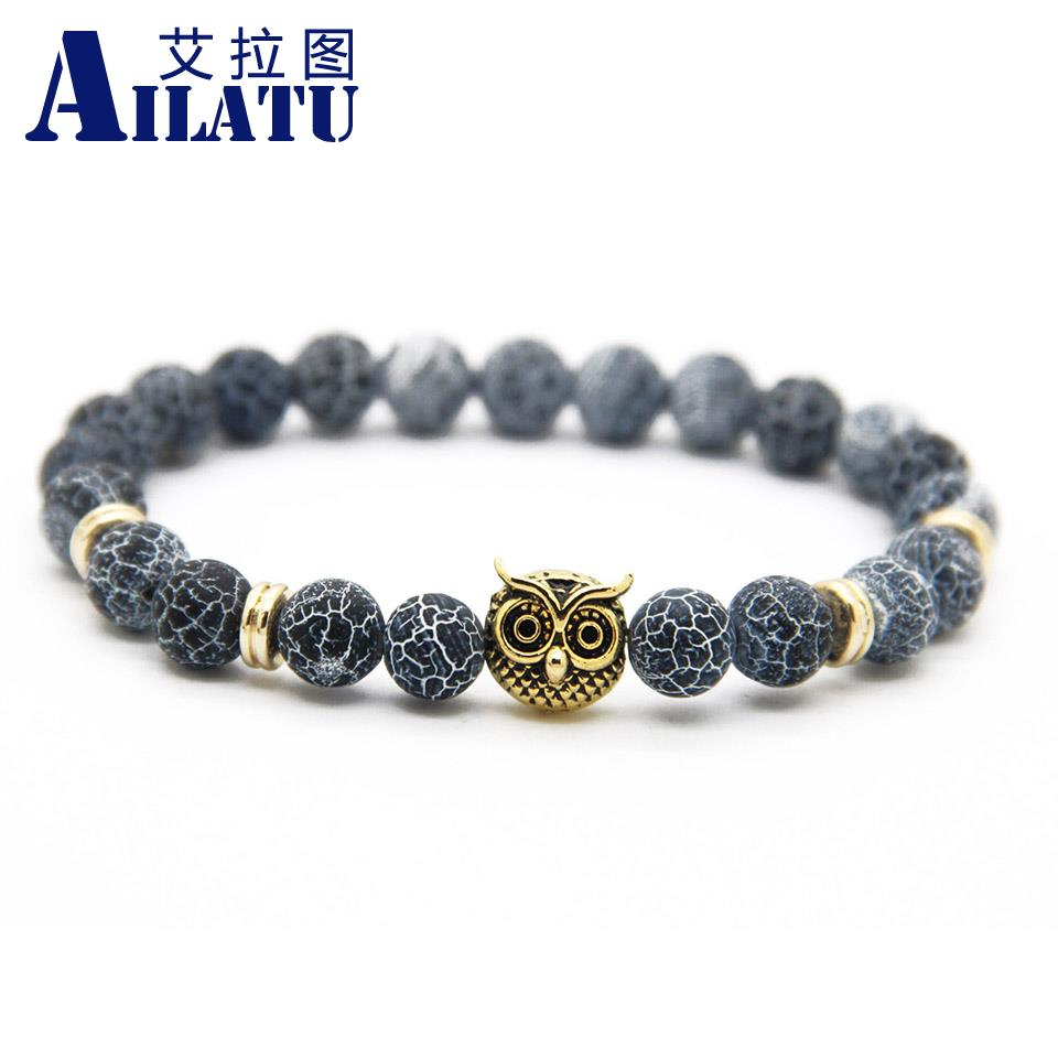 Ailatu Animal Shapes Owl Bracelets For Gift Jewelery With 8mm Weathering Onyx Stone Fashion Men's Elastic Bead Jewelry