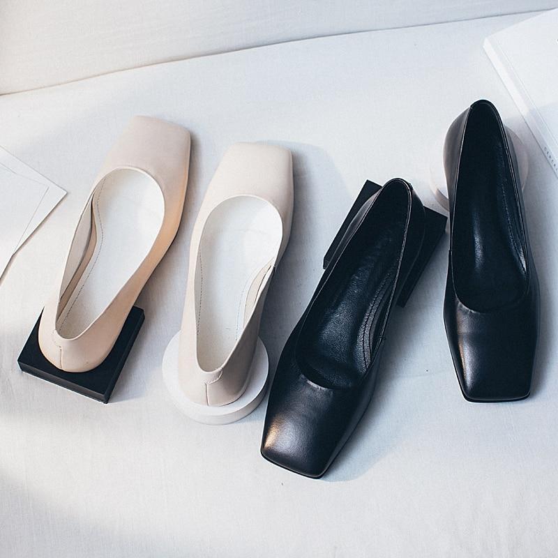 Noir Unique Contracté Top Pompes 43 Profonde Qualité Chaussures En Femmes black Cuir Printemps Bas Taille Peu 33 Automne Talons Beige Simloveyo Véritable CedxBo