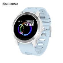 Senbono s08 plus ip68 à prova dip68 água relógio inteligente monitor de freqüência cardíaca fitness faixa presente smartwatch para android ios