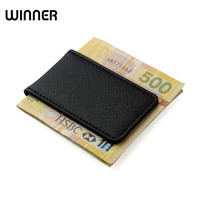 Brand Men Wallets Clip For Money Holder Strong Magnetic Genuine Leather Money Clip Wallet With Gift