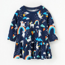 Little maven kids girls fashion brand autumn baby clothes Cotton toddler girl animal print dresses S0532