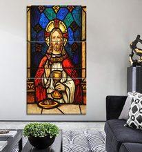 3 peça modular combinação arte pintura em tela hd impressão cristo sumo e eterno sacerdote poster moderno casa decorativo parede