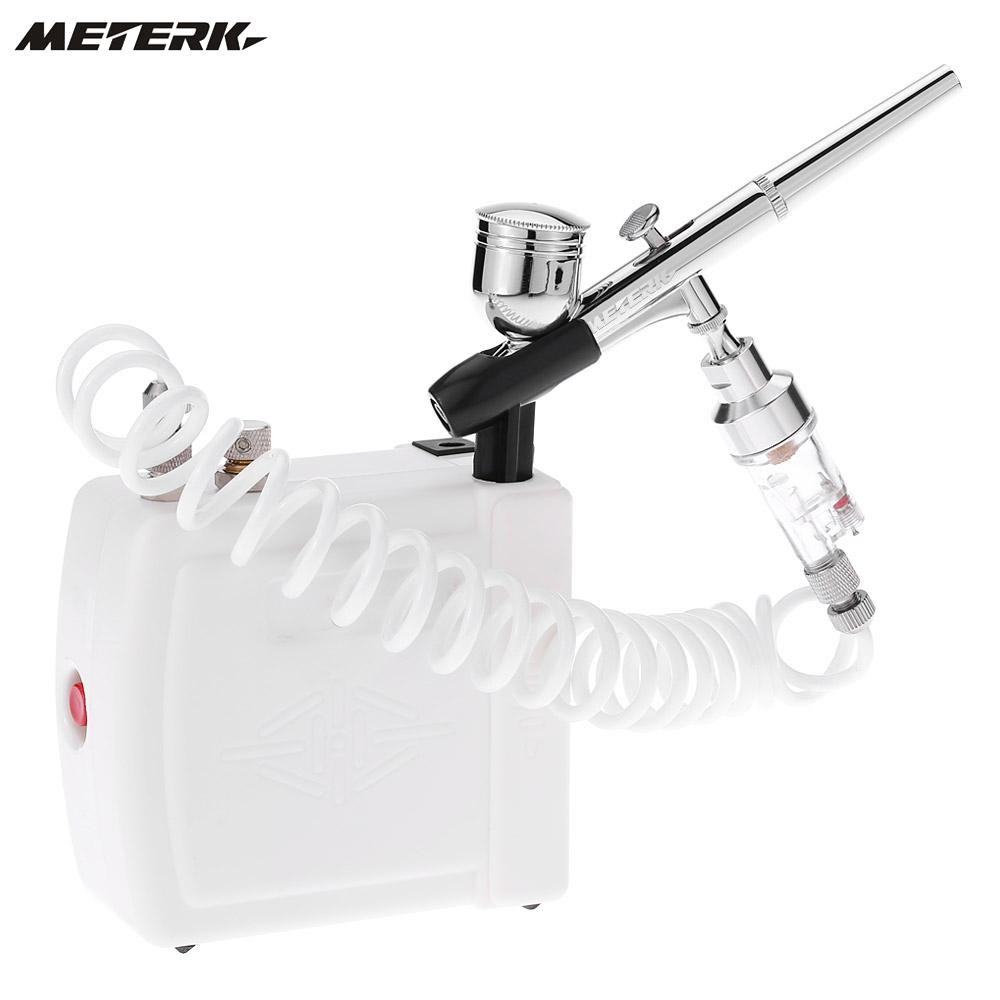 Meterk Professional Gravity Feed Dual Action Airbrush Air Compressor Kit Spray Model Air Brush Tool Set White