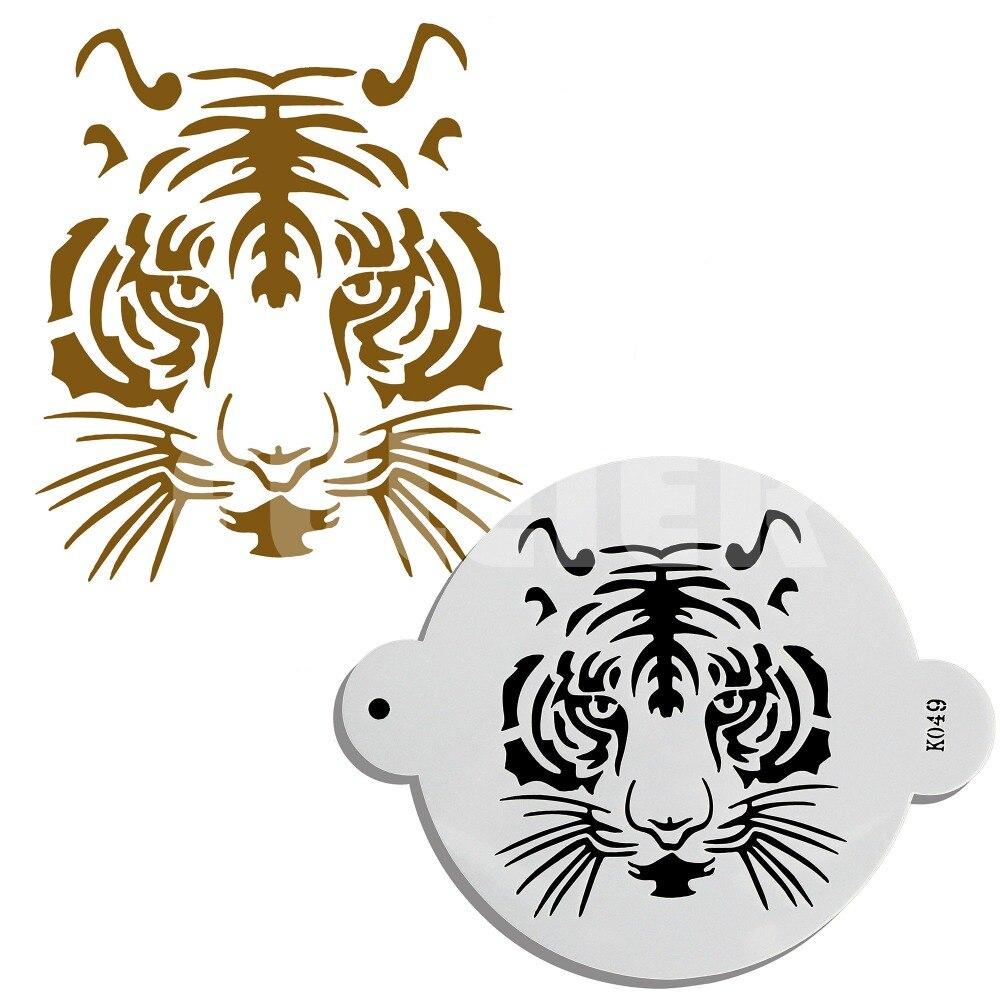 1PCS PET Tiger tvar dort dort, kuchyně fondant dort zdobení palačinky šablona plíseň, vzorování nástroje pro pečení dorty